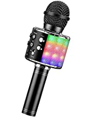BlueFire Karaoke Mikrofon, 4 i 1 Trådlös Bluetooth Mikrofon, Dans Led Ljus Högtalare Bärbara Karaoke Maskin, Hem KTV med Spela In Funktion, Kompatibel med Android iOS Enhet(Svart)