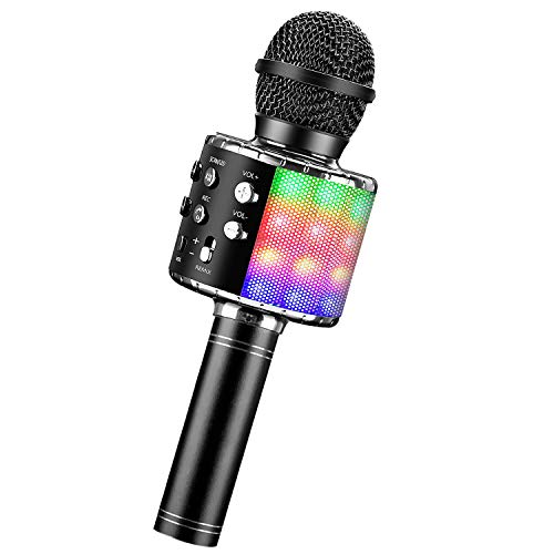 BlueFire Karaoke Mikrofon, Bluetooth Mikrofon Kinder, Tanzen LED Lichter Drahtlose Tragbares Microphon mit Lautsprecher Aufnahme für Erwachsene und Kinder, Kompatibel mit Android IOS PC (Schwarz)