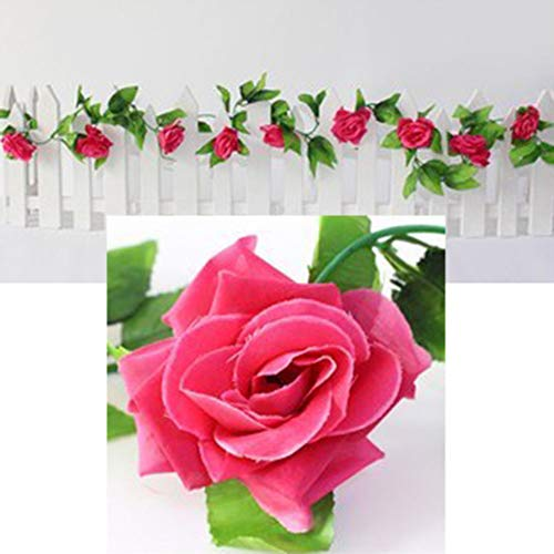 XISENOCI Artificial Flower Vine,230cm Artificial Flower Rose Vine Hanging Garland Party Home Wedding Wall Decor Vivid Color, Realistic, Beautiful, Unfading, Home Decor