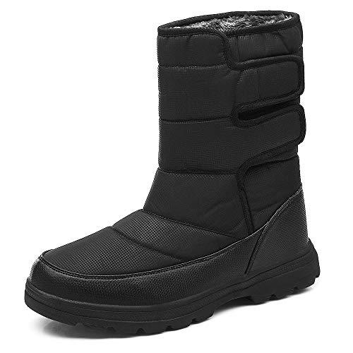 SONLLEIVOO Mens Snow Boots Winter Boot Waterproof Light Weight High Top with Fur Lined Outdoor Black