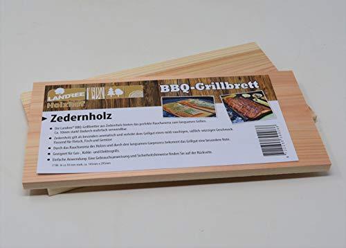 Landree® BBQ Grillbrett Servierbrett Räucherbrett Planks Set 2 STK (Zedernholz) mehrfach verwendbar