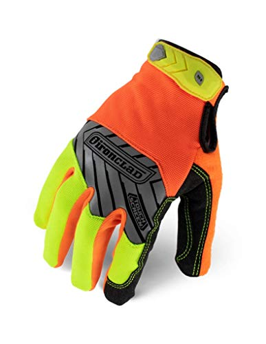 IRONCLAD Command Pro Work Gloves; Touch Screen Gloves Conductive Palm and Fingers, All-Purpose, Performance Fit, Machine Washable, Sized S, M, L, XL, XXL (1 Pair) (X-Large, Hi-Viz Yellow and Orange)
