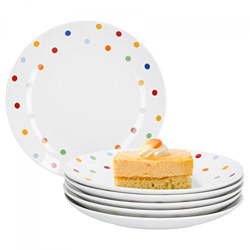 Van Well Steingut 6er Geschirr-Set Serie Capri | weiß mit Dekor | Artikel wählbar, Service Serie Capri:Dessertteller 21cm