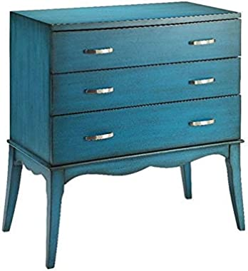 Blue 3-Drawer Accent Chest Traditional Transitional Rectangle MDF Wood Storage
