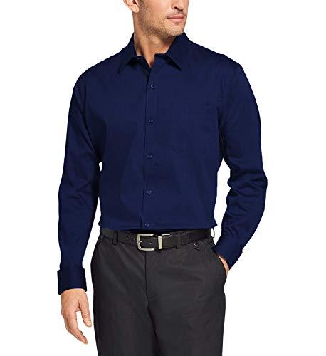 Camisa Social Masculina Bom Pano Manga Longa Lisa Azul Marinho Escura