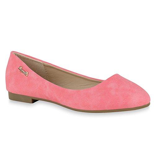 stiefelparadies Klassische Damen Strass Ballerinas Elegante Slipper Übergrößen Metallic Glitzer Flats Schuhe 143752 Rot Camiri 38 Flandell