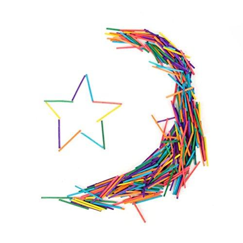 ROSENICE Allumettes Colorées Bâtonnets en Bois pour Bricolage 300 Pièces