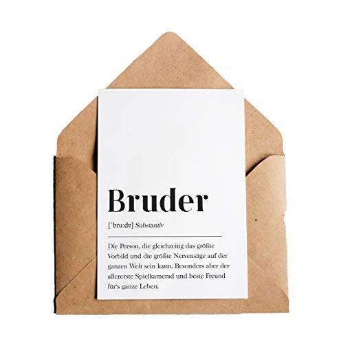 Grußkarte Bruder: DIN A6 Karte mit Umschlag