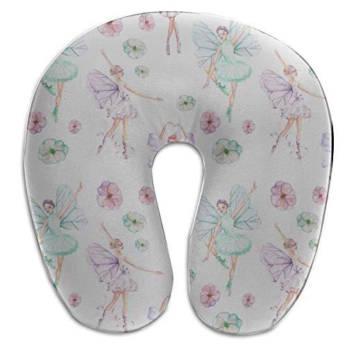 Almohadas de viaje para mujer Bailarina de ballet Chica en forma de U Protector de almohada de cuello de espuma de memoria Soporte de cojín para la cabeza Almohada de viaje cervical Almohada de confor