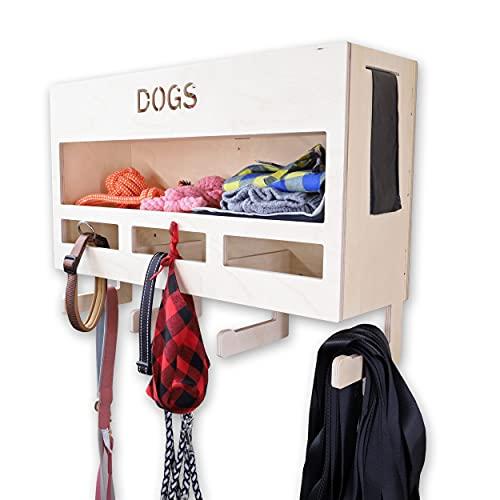 INEXTERIOR Hundegarderobe XXL - aus Holz - Handgefertigt in Deutschland - Mit großer Ablage und Kotbeutelspender - Garderobe für Hundeleinen (Natur)