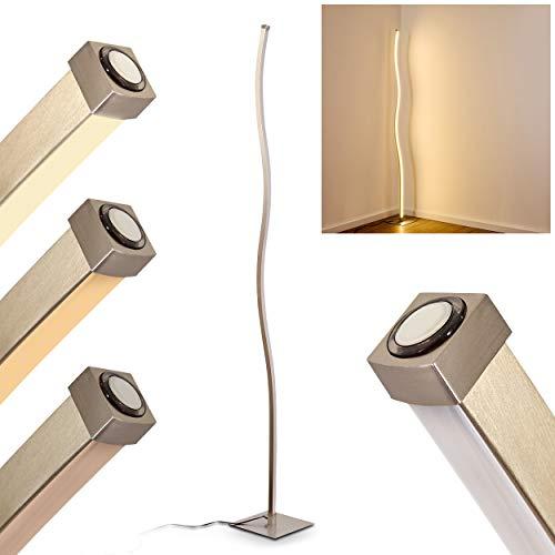 LED Stehlampe Soyo, dimmbare Stehleuchte aus Metall in Nickel-matt, 20 Watt, 1300 Lumen, Lichtfarbe 3000 Kelvin (warmweiß), geschwungene Bodenlampe in Wellenform mit stufenlosem Touchdimmer am Gehäuse