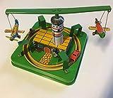 AGILE Giocattolo in Latta Vintage Carosello con Moto Auto Aerei a Carica 12 cm