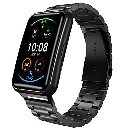 Keweni Correa de Metal Compatible con Huawei Watch Fit, Correa de Repuesto de Acero Inoxidable Ajustable para Huawei Watch Fit Reloj Inteligente (Negro)