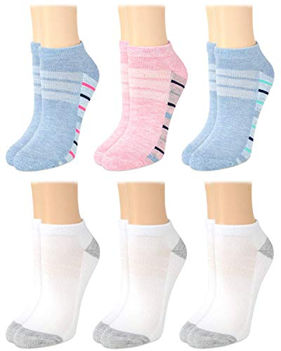 Nautica Women's Low Cut Cushioned Moisture Control Athletic Socks (6 Pack) (Multicolored, Shoe Size: 4-10)