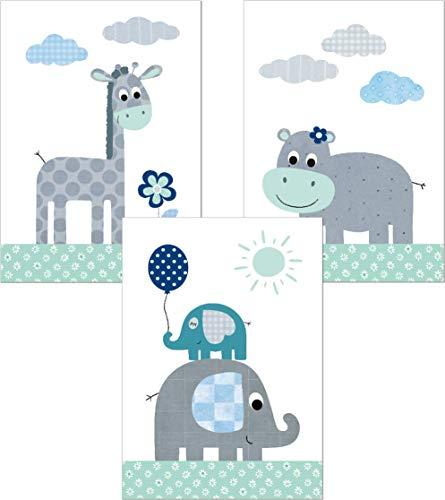 LALELU-Prints | A4 Bilder Kinderzimmer Poster | Zauberhafte Dschungel-Tiere mint | Babyzimmer Deko Junge Mädchen | 3er Set Kinderbilder (DIN A4 ohne Rahmen)