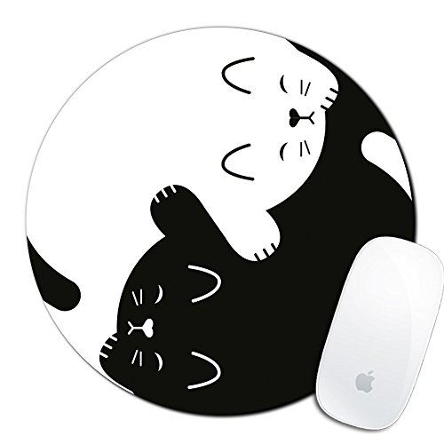 Cat Custom Mouse Pad Gaming Mat Keyboard Pad Waterproof Material Non-Slip Personalized Round Mouse pad (7.8x7.8x0.08Inch)