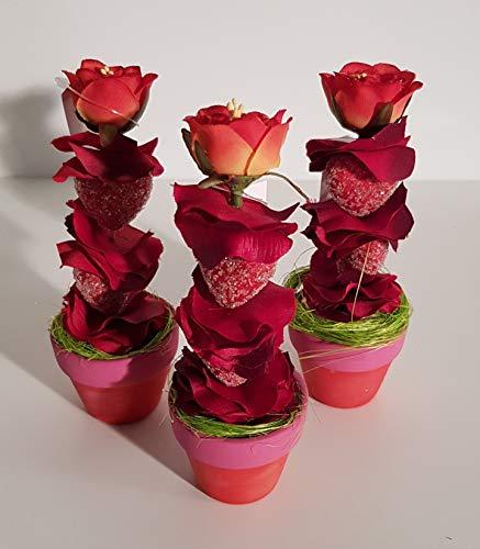 Testrut - Fiore decorativo in vaso di ceramica con due cuori, ca. 14 x 5 x 5 cm (3 pezzi)