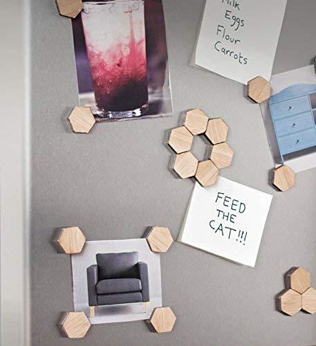 BU Products Kühlschrankmagnete-Set in sechseckiger Bienenwaben-Form - 20 Stück Aus natürlichem, umweltfreundlichen Holz - Ideal für Whiteboards & Küchen