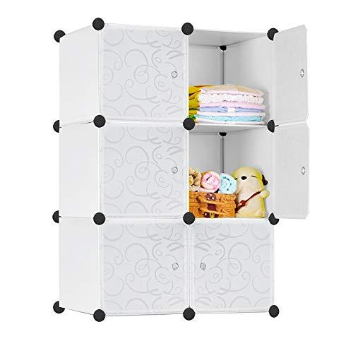 HENGMEI Kleiderschrank DIY Garderobenschrank Steckregalsystem Regalsystem Garderoben mit Weiß-Muster (6 Boxen mit Tür)
