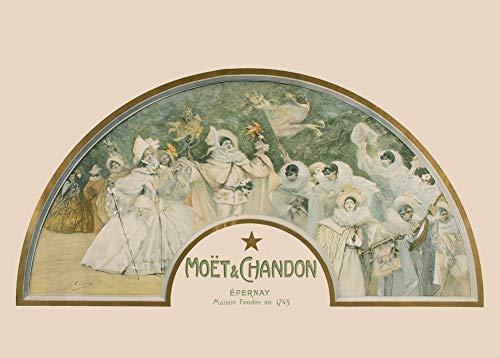 Vintage bieren, wijnen en sterke drank 'Moët & Chandon (L'éventail)', Frankrijk, 1900, 250gsm Zacht-Satijn Laagglans Reproductie A3 Poster