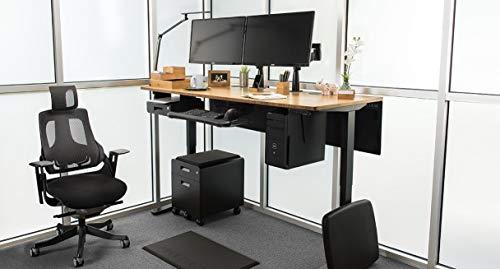 "UPLIFT Desk - V2 Bamboo Standing Desk - 1"" Thick Rectangular Carbonized Bamboo Desktop, Height Adjustable Frame (Gray), Adv. Memory Keypad & Wire Grommets (Gray), Bamboo Motion-X Board (48"" x 30"")"