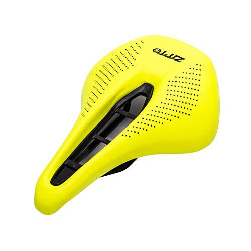 HOISSPENS Sillín ergonómico de Nariz Corta para Bicicleta MTB cómodo Viaje Largo Ligero Grueso Asiento Amortiguador Suave ZD8 Yellow-Black