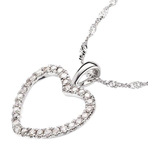 Ardeo Aurum Damen Anhänger mit Kette Collier aus 585 Gold Weißgold mit 0,15 ct Diamant Brillant Herzanhänger Herz Singapurkette Halskette