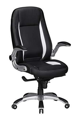 Bürostuhl Willy, schwarz/weiß, Kunstleder, Schreibtischstuhl, Gamingstuhl, Drehstuhl, Sessel, Büro, Arbeitszimmer, Möbel, Sitzmöbel