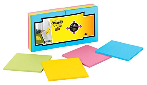 Post-it Super Sticky Full Adhesive Notes, 2x Sticking Power, 3 in x 3 in, Rio de Janeiro Collection, 16 Pads/Pack (F330-16SSAU)