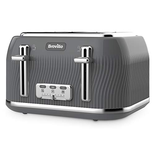 Breville VKT892 Flow 4-Slice Toaster with High-Lift and Wide Slots, Grey