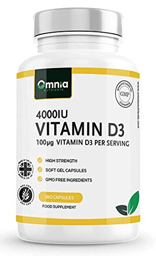 Vitamin D3 4000 IU Supplement   High Strength Cholecalciferol   180 Easy to Swallow Soft Gel Capsules   6 Months Supply   Made in The UK by Omnia NUTRIENTS
