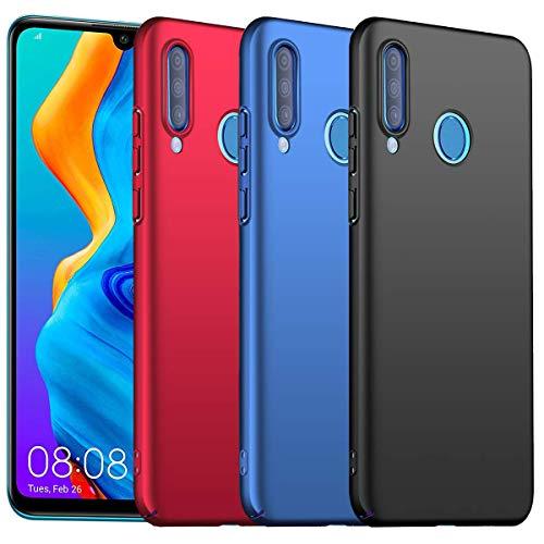 KZIOACSH Cover Huawei P30 Lite,3 Pack Ultra Sottile Plastica Duro Caso PC Protettiva Custodia per Huawei P30 Lite(Nero Rosso Blu )