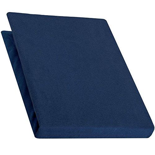 aqua-textiel Pur Topper hoeslaken 120x200-130x200 cm donkerblauw boxspringbedden topperlaken katoen