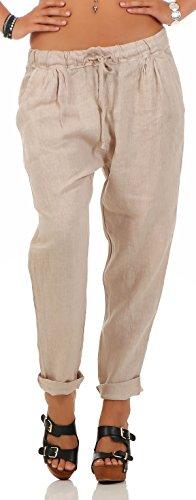 Malito Damen Hose aus Leinen | Stoffhose in Unifarben | Freizeithose für den Strand | Chino - Jogginghose 6816 (beige, S)