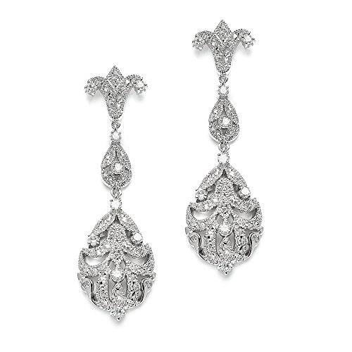 Mariell 1920s CZ Dangle Vintage Wedding Earrings for Brides - Genuine Platinum Plated Antique Jewelry