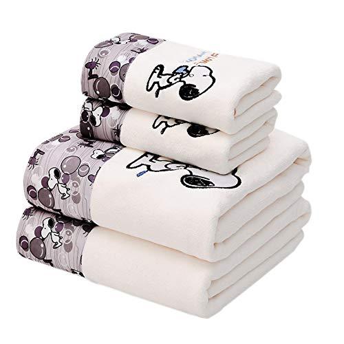 Ycjiajia Juego de toallas de baño de microfibra con encaje bordado de dibujos animados, suave, absorbente, para adultos y mujeres, toalla de baño 【Snoopy White】