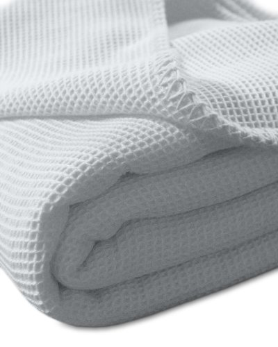 kneer KULTUR DER NACHT Waffelpique Decke, Baumwolle, Weiß, 150 cm x 210 cm