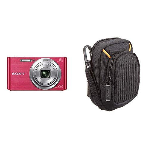 Sony DSC-W830 Digitalkamera (20,1 Megapixel, 8X optischer Zoom, 6,8 cm LC-Display, 25mm Carl Zeiss Vario Tessar Weitwinkelobjektiv) pink & AmazonBasics Kameratasche für Kompaktkameras, mittlere Größe
