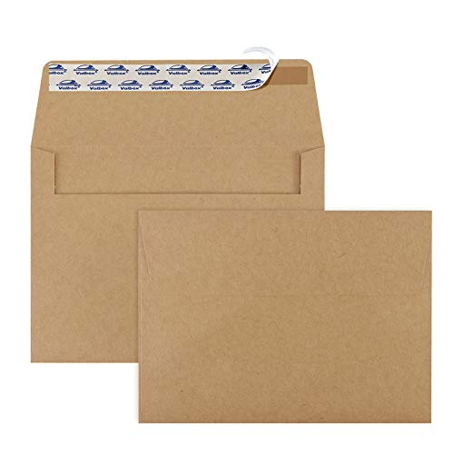 ValBox 200 Qty A7 Invitation Envelopes 5 x 7, 120GSM Brown Kraft Paper Envelopes for 5x7 Cards, Self Seal, Weddings, Invitations, Baby Shower, Stationery, Office, 5.25 x 7.25 Inches