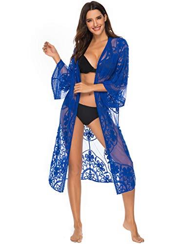 B/H Hochzeit Abend Gala Empfang,Damenschal Gewebt,Bikini Strickjacke Strandbluse Sonnenschutz Kleidung-blau_1St