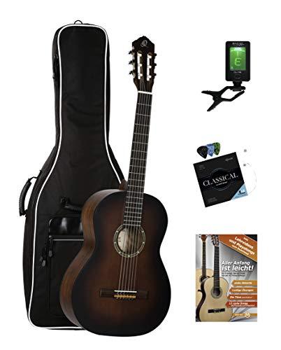 Ortega R55BFT Konzertgitarre Set (Einsteiger Gitarre mit Gigbag inkl. Clip-Tuner, Gitarrensaiten mit Plektren & Gitarrenschule)
