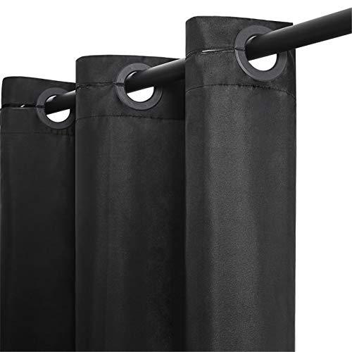 Furlinic Duschvorhang Textil aus Stoff für Dusche Schwarz Badewannenvorhang aus Polyester Wasserdicht Anti-schimmel Waschbar Schmal 90x180 mit Groß Ösen.