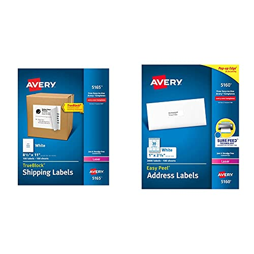 Avery Shipping Address Labels, Laser Printers, 100 Labels, Full Sheet Labels, TrueBlock (5165), White & 5160 Easy Peel Address Labels , White, 1 x 2-5/8 Inch, 3,000 Count (Pack of 1)