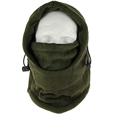 DNA Cold Weather Carp Fishing Fleece Lined OD Green Adjustable Snood with Face Guard