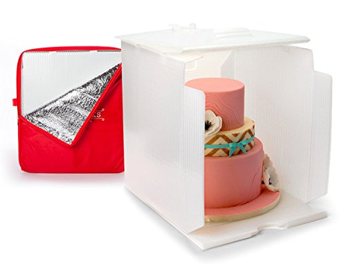 "Innovative Sugarworks Small Cake Porter with Insulated Cover and Cake Carrier, 14"" x 14"" x 16"", White"