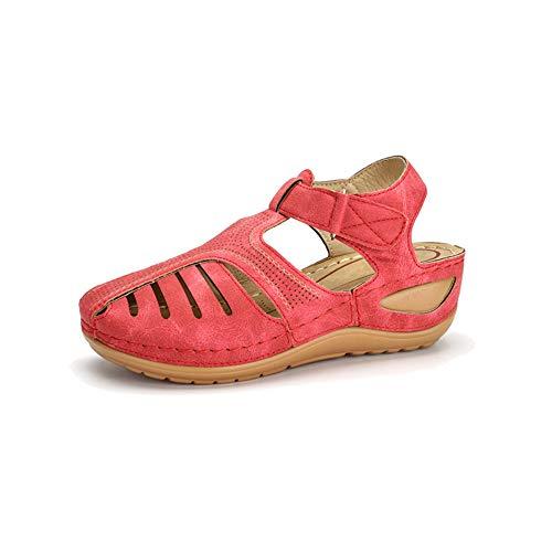Verano Retro Sandalias Femeninas Línea De Automóviles Zapatos De Agujero De Gran Tamaño Cabeza Redonda Cuña Talón Sandalias De Fondo Suave Cómodo Femenino