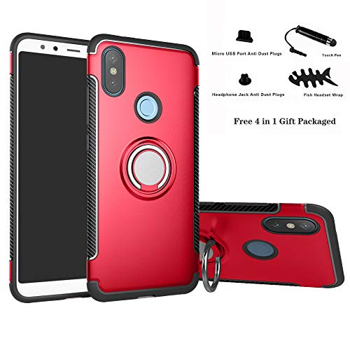 Labanema Xiaomi Mi A2 / Mi 6X Funda, 360 Rotating Ring Grip Stand Holder Capa TPU + PC Shockproof Anti-rasguños teléfono Caso protección Cáscara Cover para Xiaomi Mi A2 / Mi 6X - Rojo