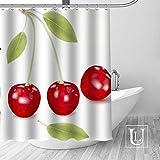 KDRGHU DuschvorhangBig Sale New Custom Cherry Duschvorhang mit Haken Bad Wasserdichter Polyester Stoff DIY Ihr eigener Duschvorhang