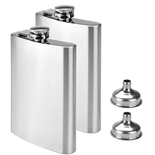 Willingood 2X Edelstahl Flachmann und Trichter, 8oz.227 ml | Geeignet zum Tragen von Alkohol