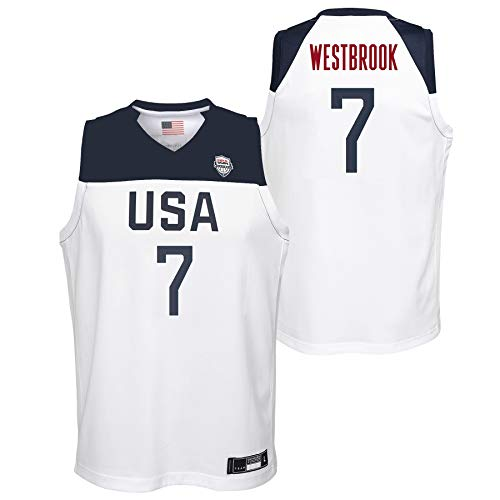 Outerstuff Team USA Basketball Russell Westbrook #7 Home White Swingman Jersey Youth Sizes (Youth Medium (10/12))